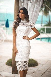 Vestido Midi de renda branco Tamandaré