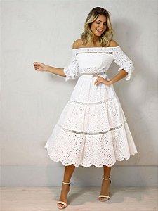 Vestido Midi em Laise Branco