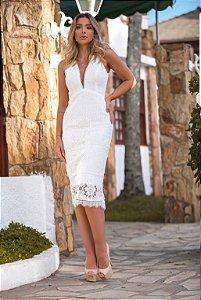 Vestido Midi Branco Floripa Doce Maria