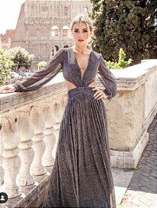 Vestido Longo em Lurex Paris