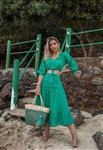 Conjunto Doce Maria com Cropped Verde