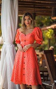 Vestido Midi Laise Doce Maria Coral