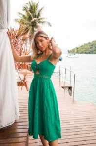 Vestido Midi em Laise Doce Maria Verde