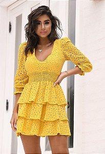 Vestido curto em Laise Dot Amarelo