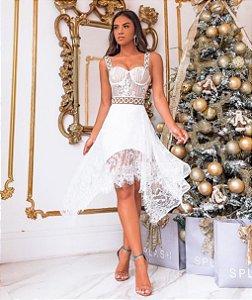 Vestido Midi em renda Chantilly Karen
