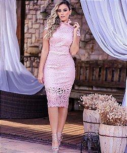 Vestido Midi Rose Doce Maria