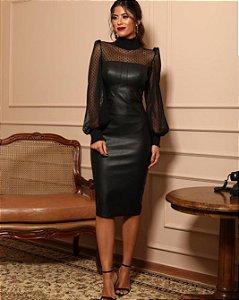 Vestido Midi em couro Doce Maria Classic Collection