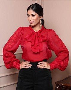 Camisa em organza com detalhe em renda Classic Collection Doce Maria