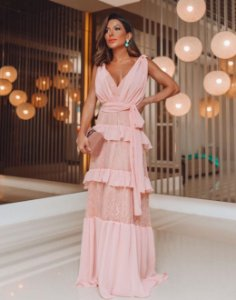 Vestido Rosa com Musseline e renda Carina