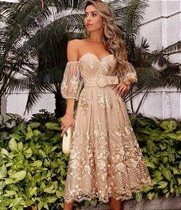 Vestido Midi em Renda Luxo Safira