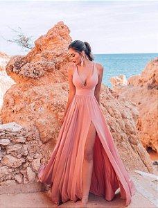 Vestido Rosa com Fenda Marianna