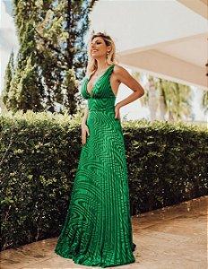 Vestido verde esmeralda plissado Sabrina