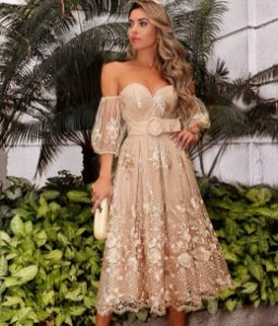Vestido Midi em Renda Guipir Nina
