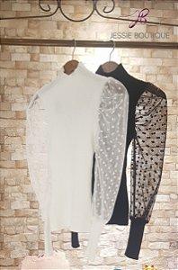 Blusa de Tricot com manga em Poá