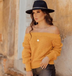 Blusa em Tricot ombro a ombro Nubia