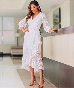 Vestido Midi Branco em Renda Nísia