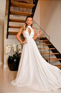 Vestido Branco Bordado Cristaly