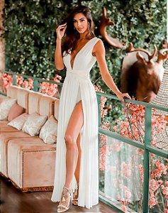 Vestido longo com fenda Adriana