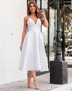 Vestido midi branco Vania