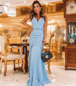 Vestido longo com saia plissada Isadora