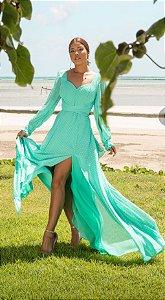 Vestido Longo em Micro Poá Anne