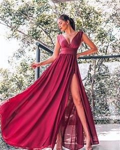 Vestido longo com fenda Bianca