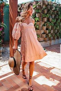 Vestido Midi em Renda Rose Doce Maria