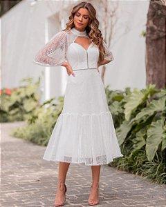 Vestido Midi Branco em renda Chantilly