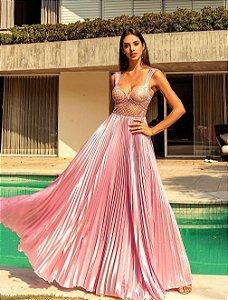 Vestido longo Plissado Analu