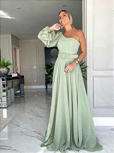 Vestido longo em poá Aurea