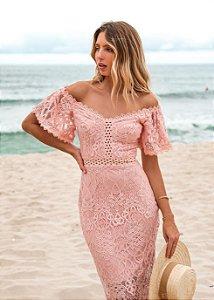Vestido midi rosa ombro a ombro Doce Maria