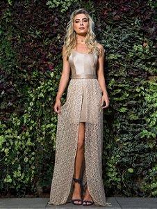 Vestido dourado Leblog 2 em 1