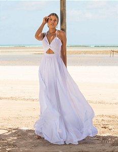 Vestido longo branco em Macramê Safira