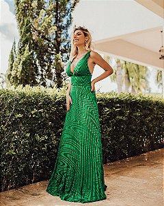 Vestido longo Plissado Verde Esmeralda