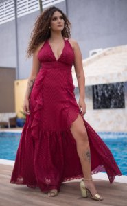 Vestido Fluído com fenda Débora
