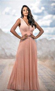 Vestido longo Plissado em Lurex