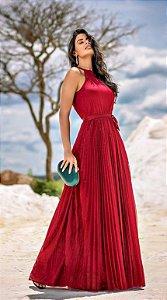 Vestido longo Plissado em Lurex Bella