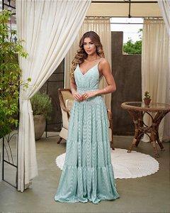 Vestido longo Devoré Bianca