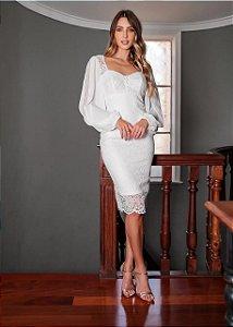Vestido Midi Branco com manga Laila Doce Maria