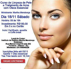 Inscrição Curso de Limpeza de pele e tratamento de acne com óleos essencial