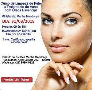 Inscrição: Curso de Limpeza de pele e tratamento de acne com óleos essencias