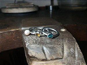 Kit 3 Anéis Bala em Prata 950 e Pérola e Pedras Naturais