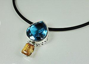 Pingente em Prata 950 com Topázio azul e Topázio imperial | Peça única