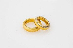 Alianças Maxi - Ouro 18k e Diamantes| Sob Medida