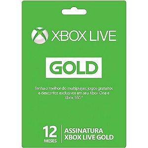 Live Card Microsoft Gold 12 meses XBOX 360 e Xbox One