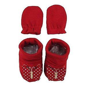 Kit Luva E Sapato Bebê Borboleta - Vermelho