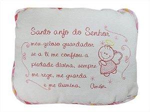 Travesseiro Bebê Santo Anjo Bordado - Rosa