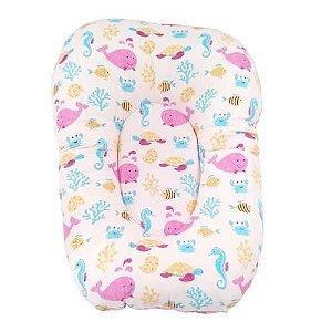 Almofada Para Banho Do Bebê - Fundo Do Mar - Rosa