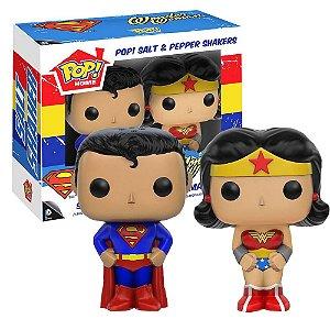 Pop Home Super Homem e Mulher Maravilha Porta Sal e Pimenta