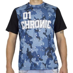 Camiseta Chronic Camuflada Azul e Preto